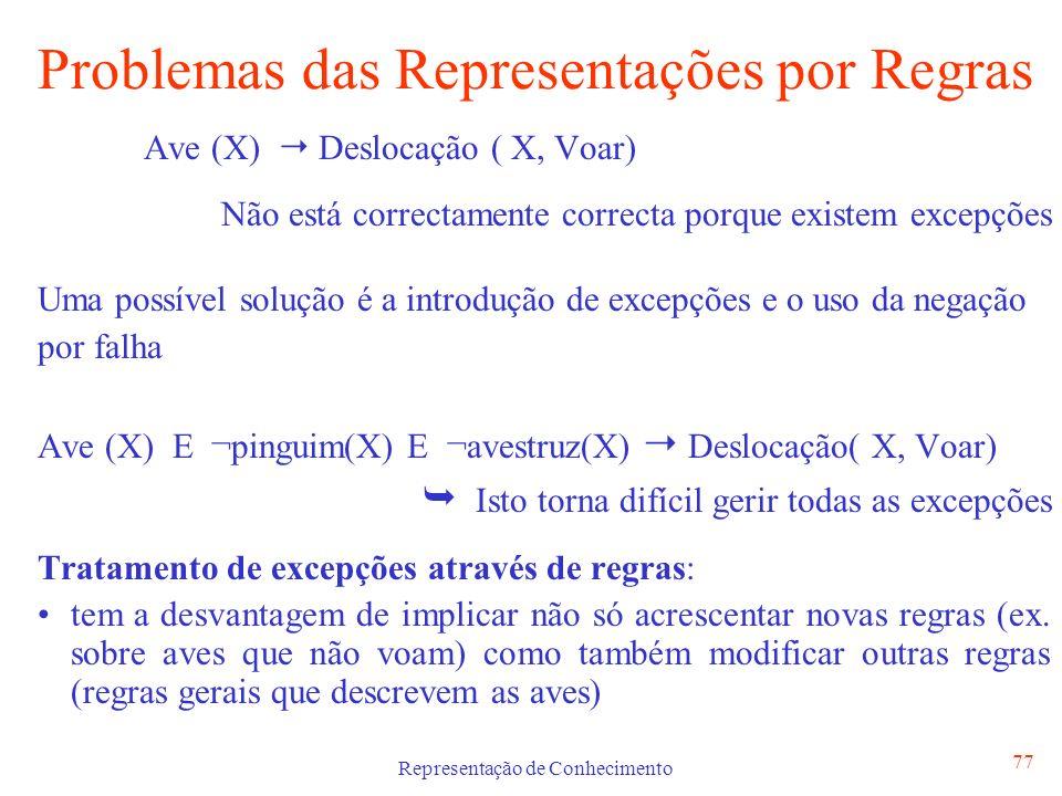 Representação de Conhecimento 77 Problemas das Representações por Regras Ave (X) Deslocação ( X, Voar) Não está correctamente correcta porque existem