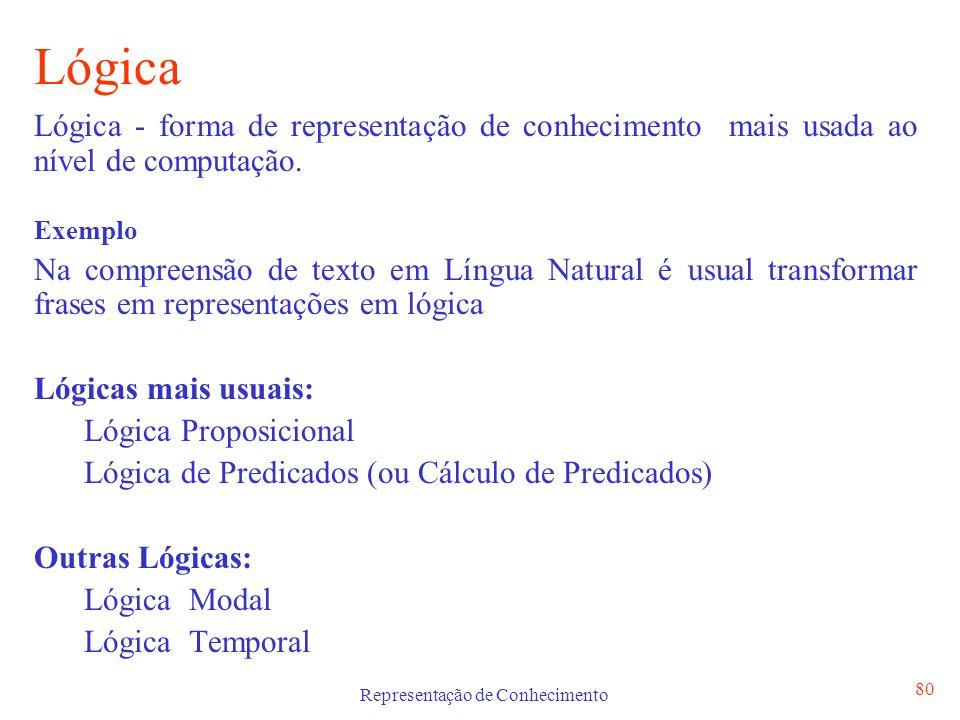 Representação de Conhecimento 80 Lógica Lógica - forma de representação de conhecimento mais usada ao nível de computação. Exemplo Na compreensão de t