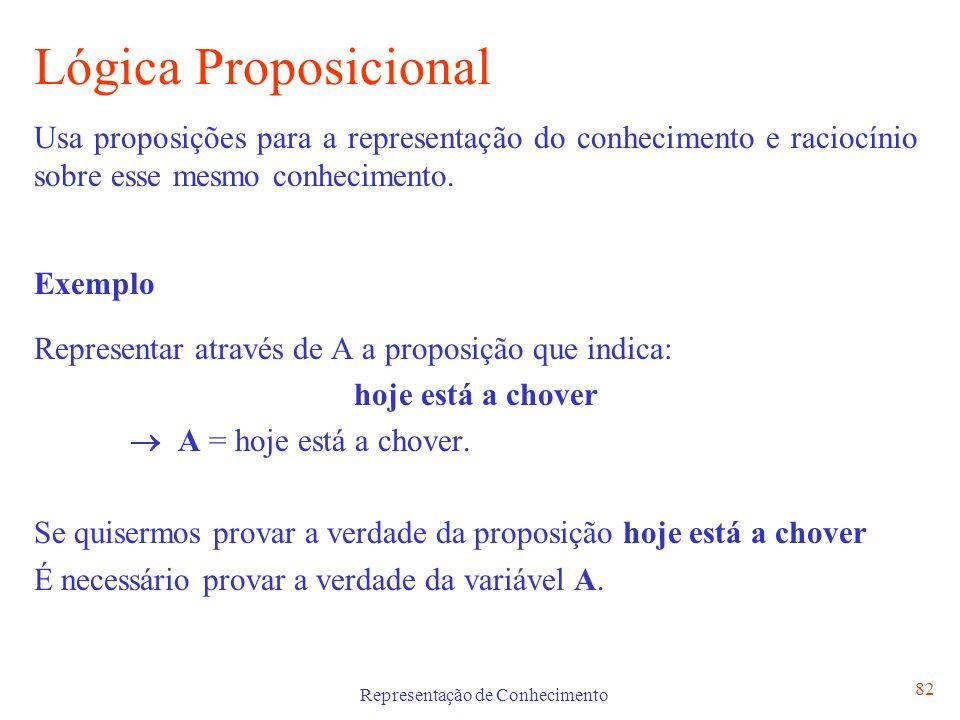 Representação de Conhecimento 82 Lógica Proposicional Usa proposições para a representação do conhecimento e raciocínio sobre esse mesmo conhecimento.