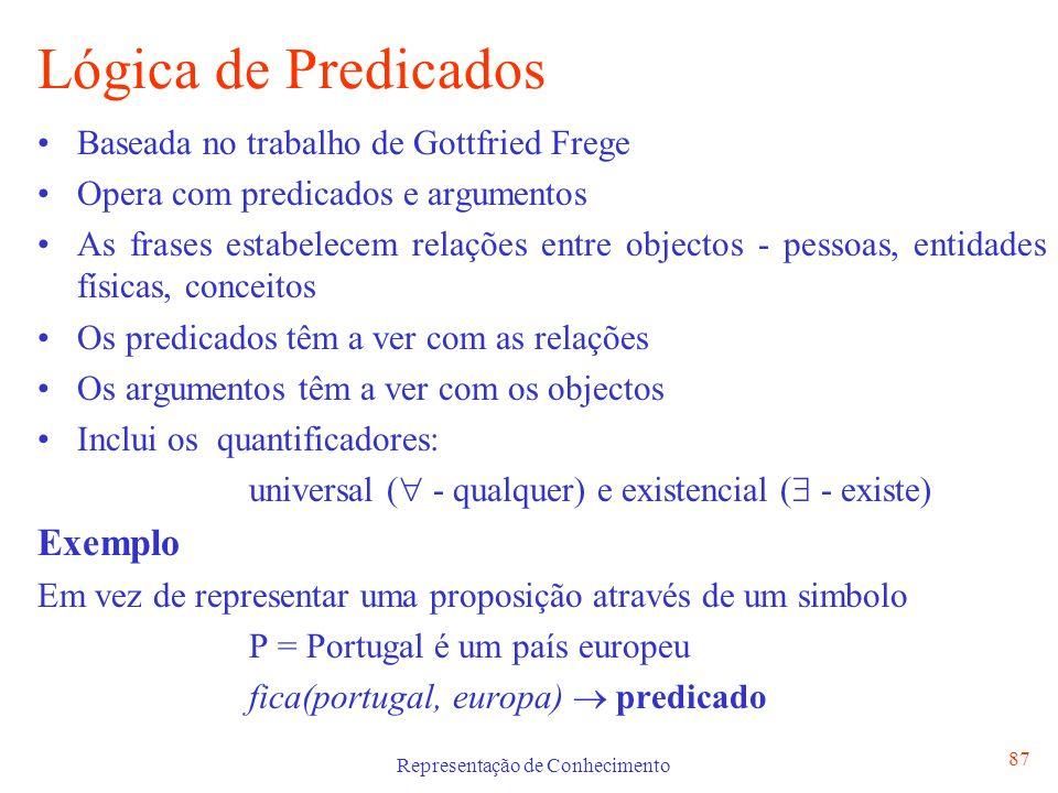Representação de Conhecimento 87 Lógica de Predicados Baseada no trabalho de Gottfried Frege Opera com predicados e argumentos As frases estabelecem r
