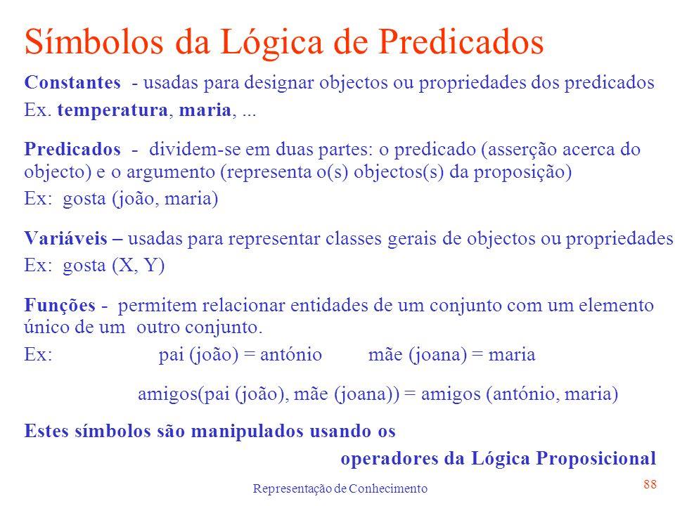 Representação de Conhecimento 88 Símbolos da Lógica de Predicados Constantes - usadas para designar objectos ou propriedades dos predicados Ex. temper