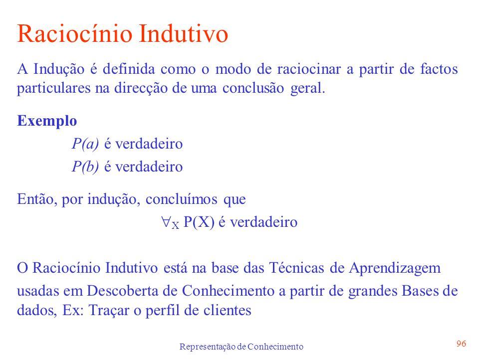 Representação de Conhecimento 96 Raciocínio Indutivo A Indução é definida como o modo de raciocinar a partir de factos particulares na direcção de uma