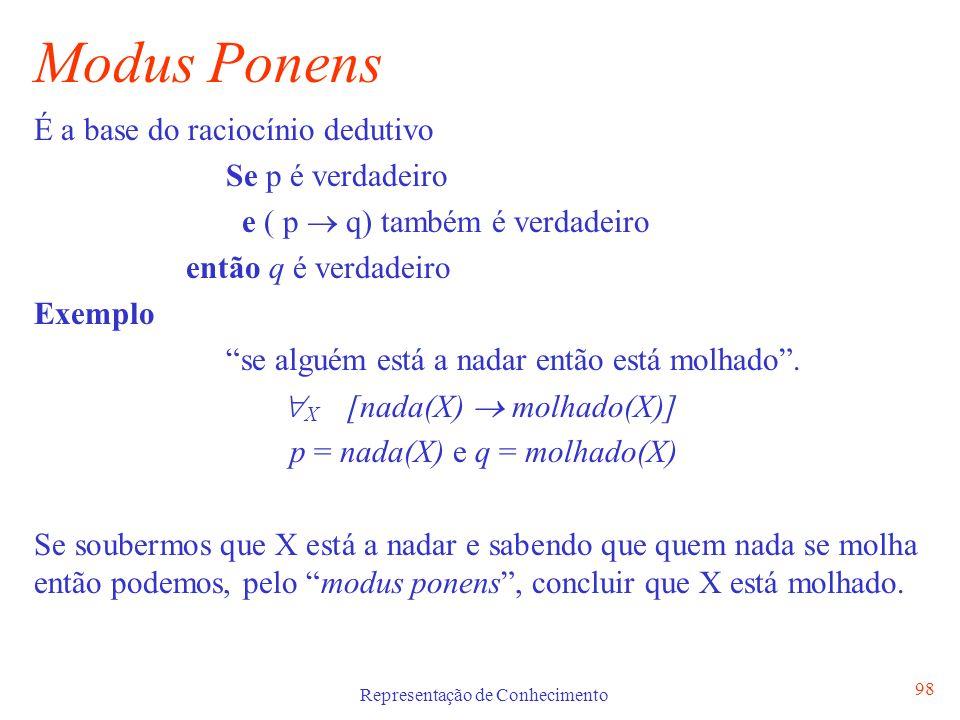 Representação de Conhecimento 98 Modus Ponens É a base do raciocínio dedutivo Se p é verdadeiro e ( p q) também é verdadeiro então q é verdadeiro Exem