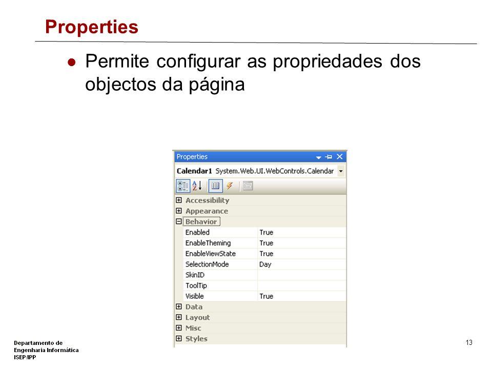 12 Solution Explorer Permite gerir ficheiros e outros recursos do Web Site