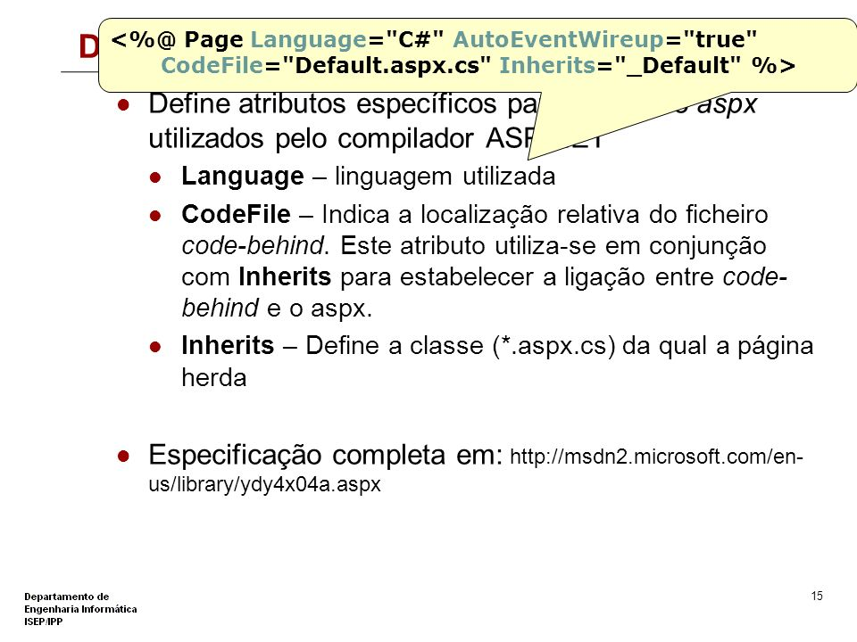 14 A interface HTML - *.aspx <%@ Page Language=