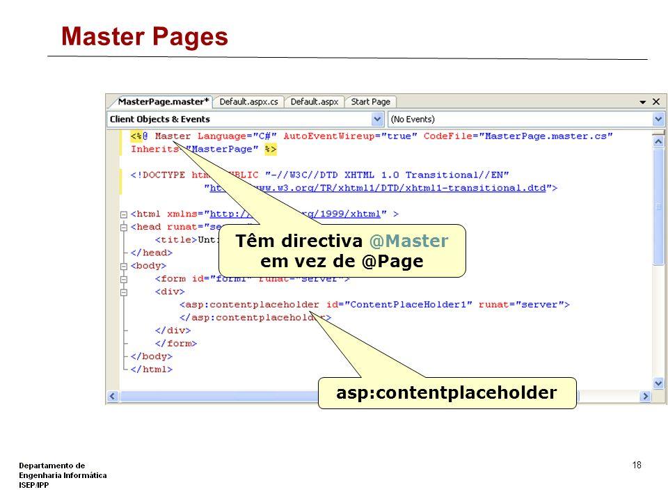 17 Master Pages São ficheiros ASP.NET com a extensão.master Definem layouts (código e conteúdo) reutilizáveis em diversas páginas web. Não são enviada