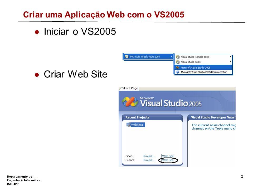 1 Tipos de Sites Web gerados pelo VS2005 File-system Web sites Ficheiros armazenados num directório local É utilizado o Microsoft ASP.NET Development