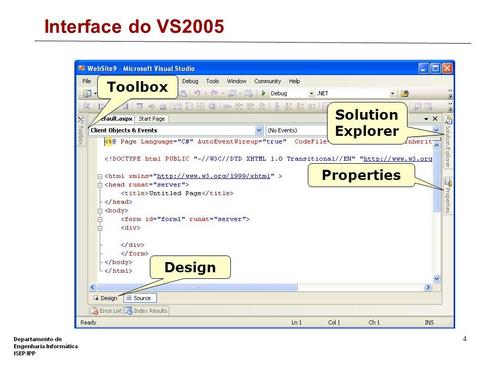 3 Criar uma Aplicação Web com o VS2005 Um Web Site C# em File System