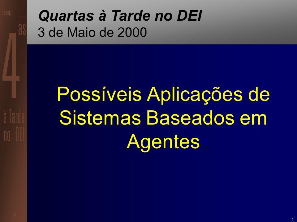 2 Sistemas Baseados em Agentes Cenários de Aplicação Assistentes Pessoais Domótica Fábrica Serviços Civis & Policiais Entretenimento
