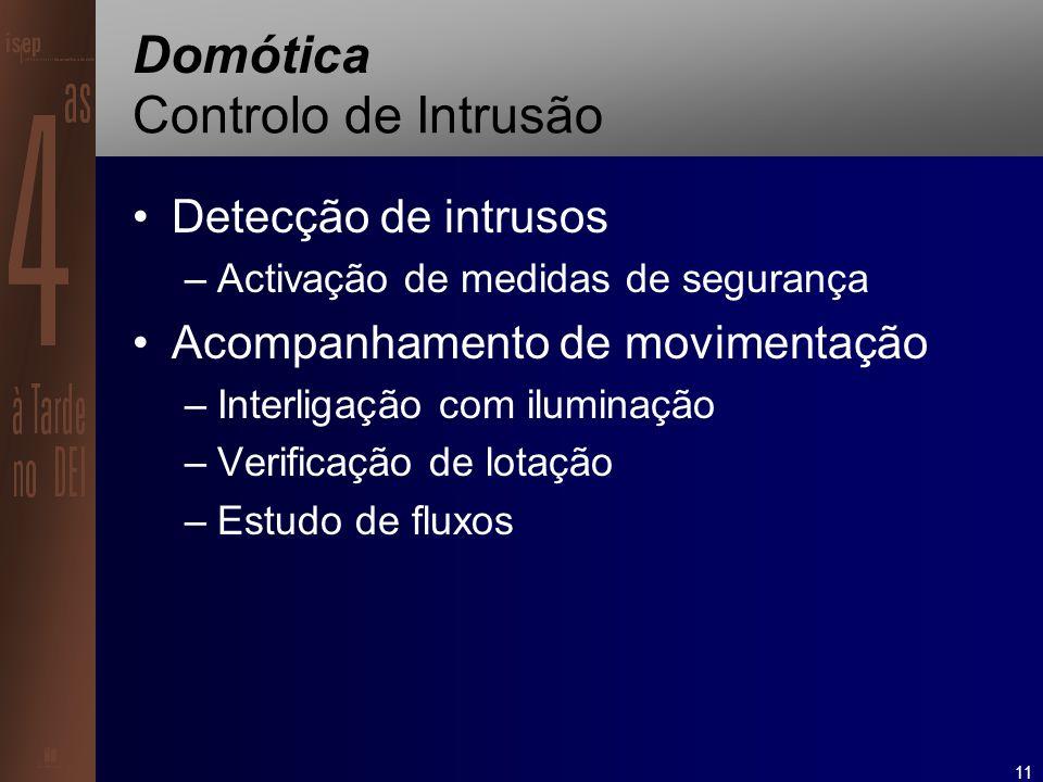 11 Domótica Controlo de Intrusão Detecção de intrusos –Activação de medidas de segurança Acompanhamento de movimentação –Interligação com iluminação –Verificação de lotação –Estudo de fluxos