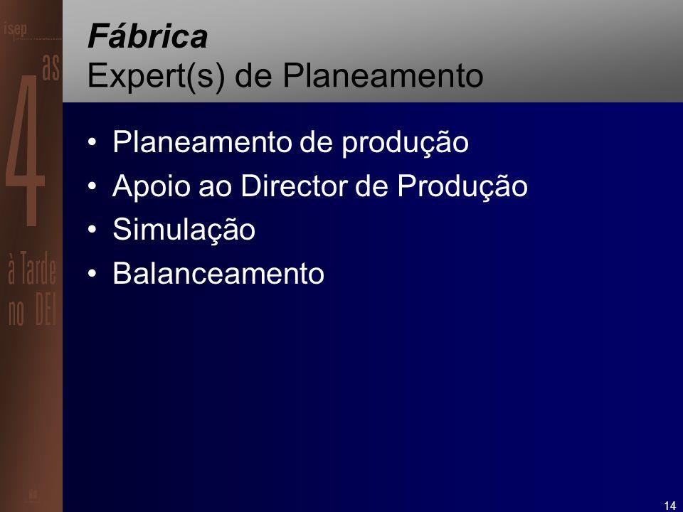 14 Fábrica Expert(s) de Planeamento Planeamento de produção Apoio ao Director de Produção Simulação Balanceamento