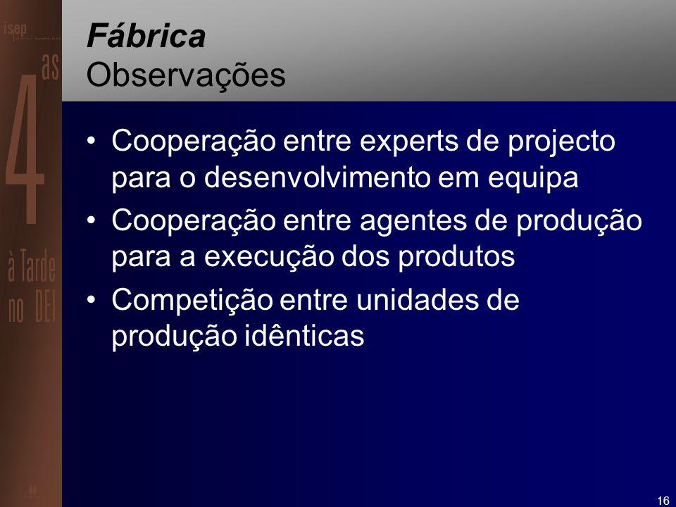 16 Fábrica Observações Cooperação entre experts de projecto para o desenvolvimento em equipa Cooperação entre agentes de produção para a execução dos produtos Competição entre unidades de produção idênticas