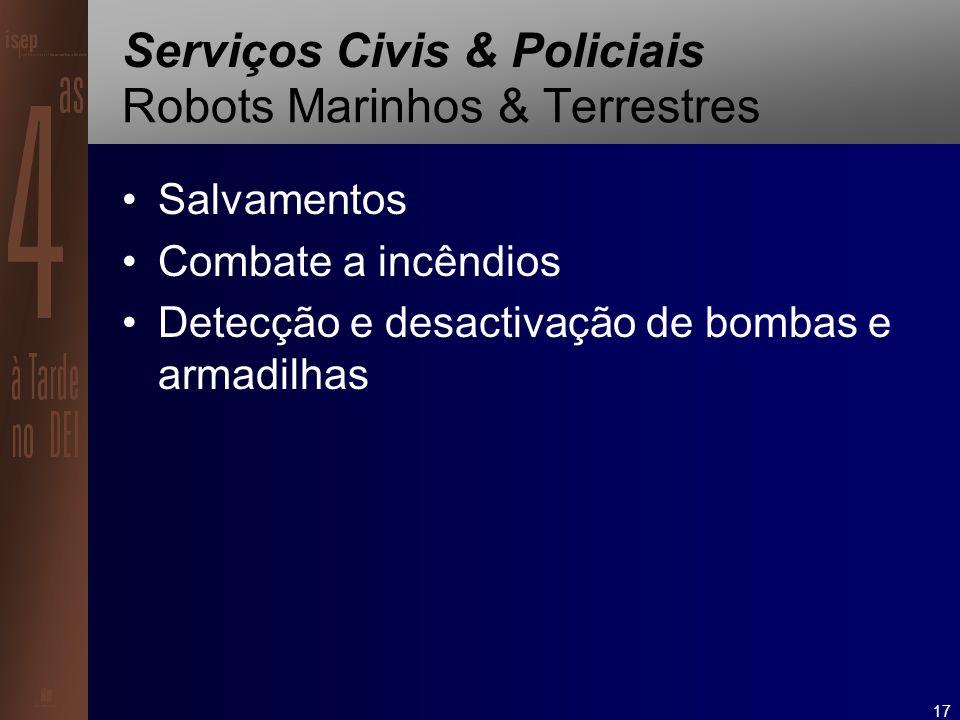 17 Serviços Civis & Policiais Robots Marinhos & Terrestres Salvamentos Combate a incêndios Detecção e desactivação de bombas e armadilhas