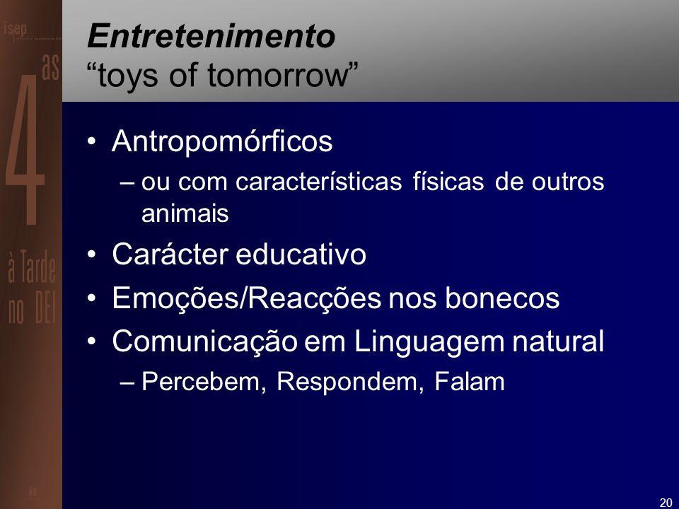 20 Entretenimento toys of tomorrow Antropomórficos –ou com características físicas de outros animais Carácter educativo Emoções/Reacções nos bonecos Comunicação em Linguagem natural –Percebem, Respondem, Falam