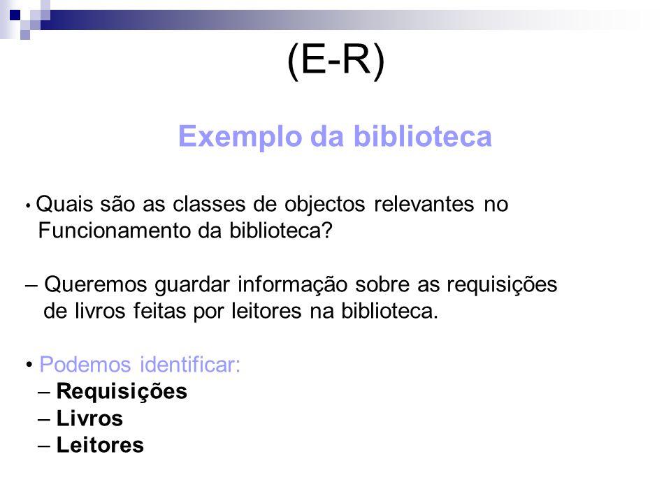 Exemplo da biblioteca Quais são as classes de objectos relevantes no Funcionamento da biblioteca? – Queremos guardar informação sobre as requisições d
