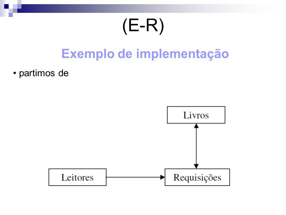(E-R) Exemplo de implementação partimos de