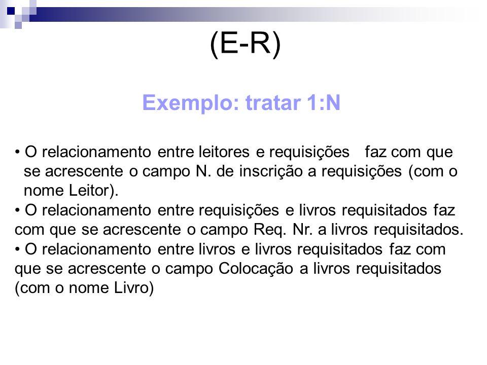 (E-R) Exemplo: tratar 1:N O relacionamento entre leitores e requisições faz com que se acrescente o campo N. de inscrição a requisições (com o nome Le