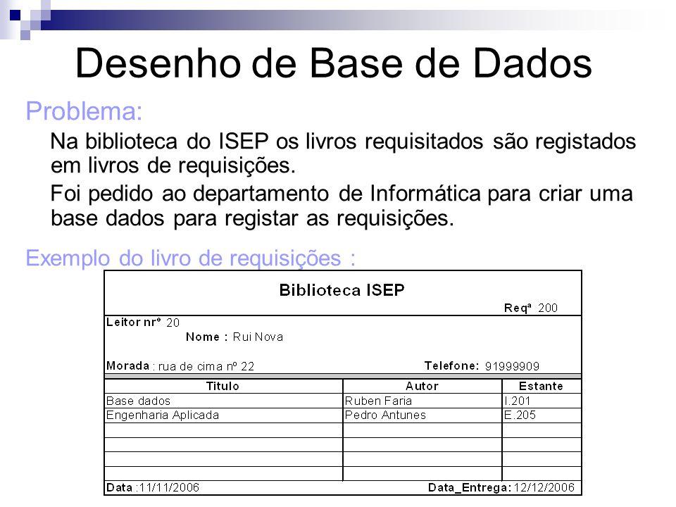 Problema: Na biblioteca do ISEP os livros requisitados são registados em livros de requisições. Foi pedido ao departamento de Informática para criar u