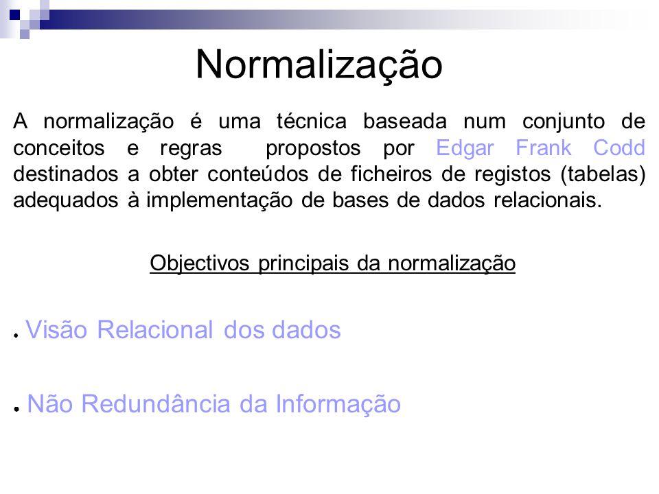 A normalização é uma técnica baseada num conjunto de conceitos e regras propostos por Edgar Frank Codd destinados a obter conteúdos de ficheiros de re