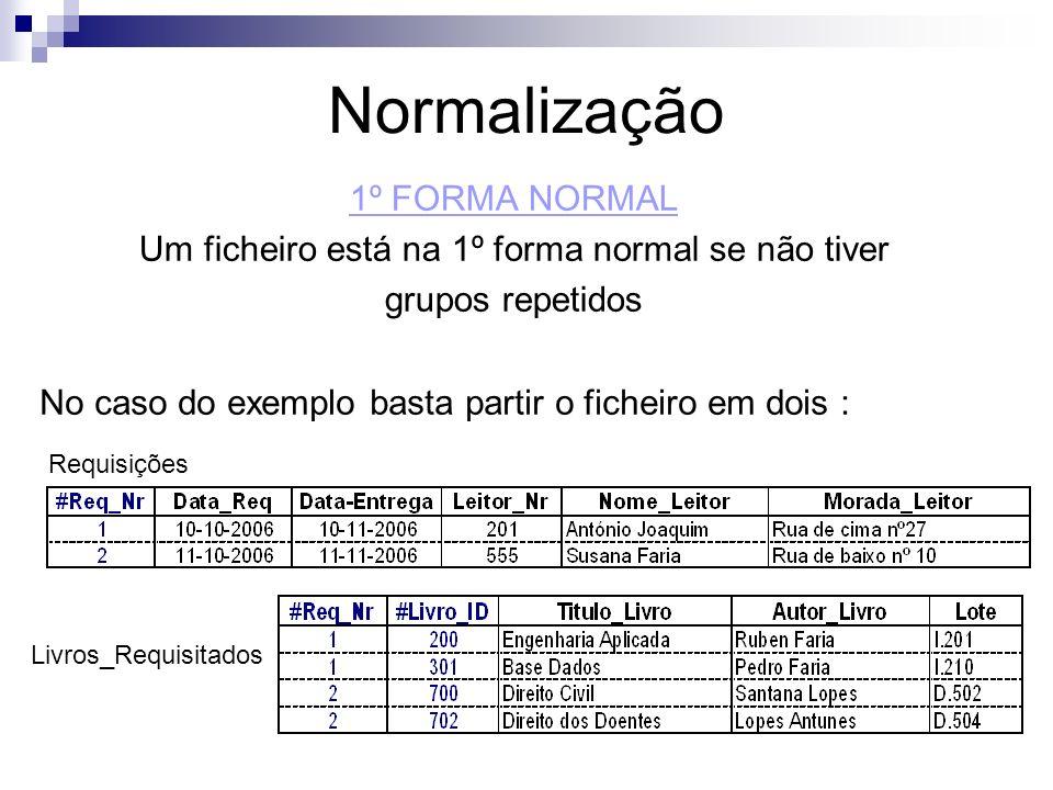 Normalização 1º FORMA NORMAL Um ficheiro está na 1º forma normal se não tiver grupos repetidos No caso do exemplo basta partir o ficheiro em dois : Re