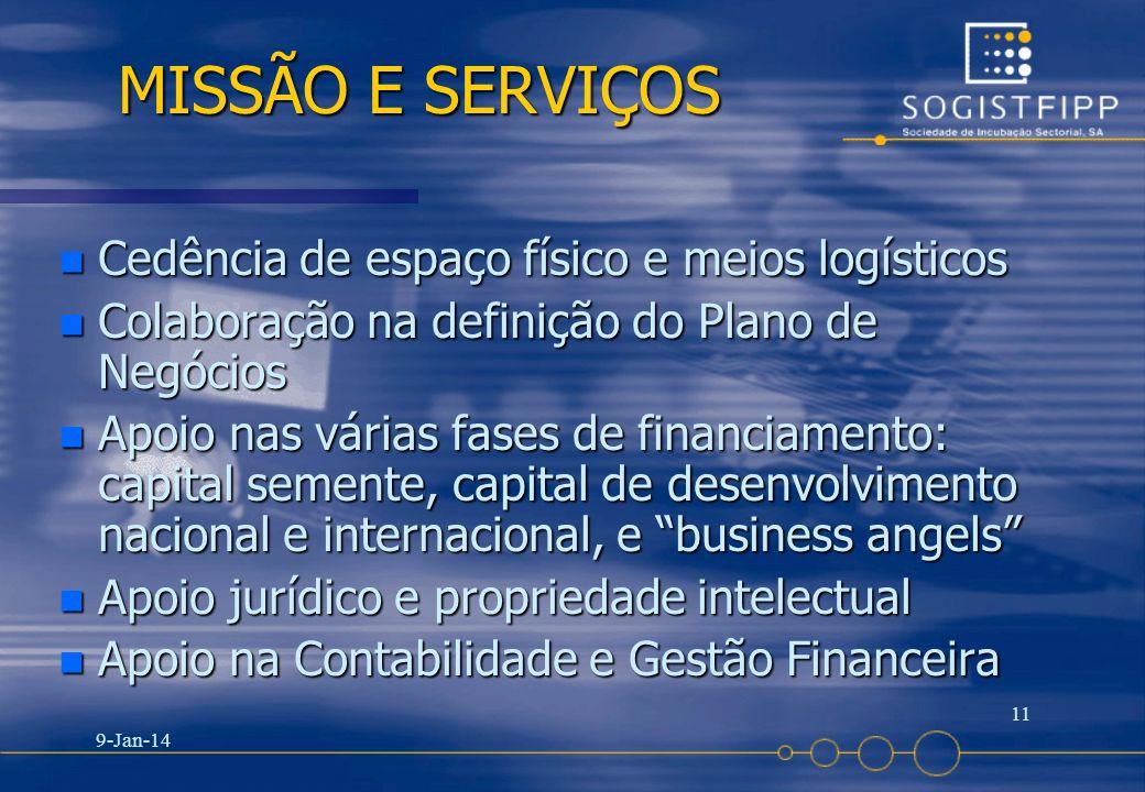 9-Jan-14 11 MISSÃO E SERVIÇOS MISSÃO E SERVIÇOS n Cedência de espaço físico e meios logísticos n Colaboração na definição do Plano de Negócios n Apoio