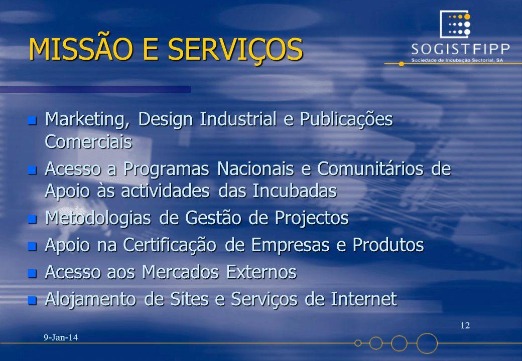 9-Jan-14 12 MISSÃO E SERVIÇOS n Marketing, Design Industrial e Publicações Comerciais n Acesso a Programas Nacionais e Comunitários de Apoio às activi
