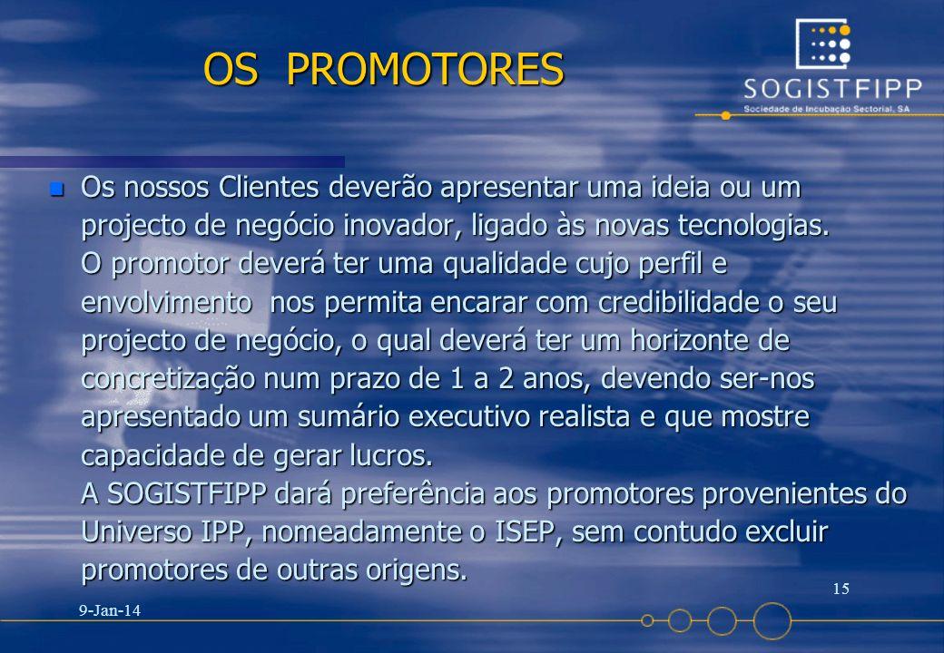 9-Jan-14 15 OS PROMOTORES n Os nossos Clientes deverão apresentar uma ideia ou um projecto de negócio inovador, ligado às novas tecnologias. O promoto