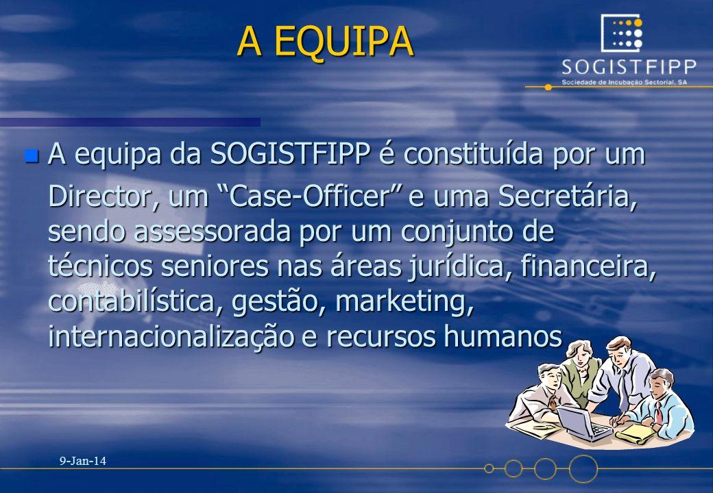 9-Jan-14 16 A EQUIPA n A equipa da SOGISTFIPP é constituída por um Director, um Case-Officer e uma Secretária, sendo assessorada por um conjunto de té