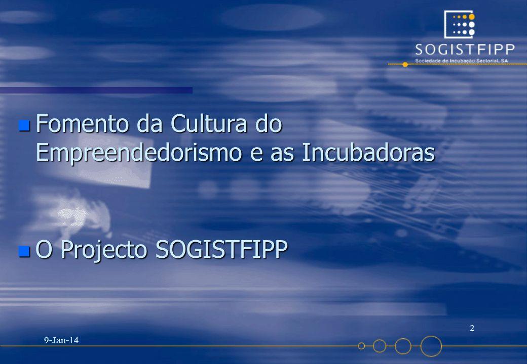 9-Jan-14 2 n Fomento da Cultura do Empreendedorismo e as Incubadoras n O Projecto SOGISTFIPP