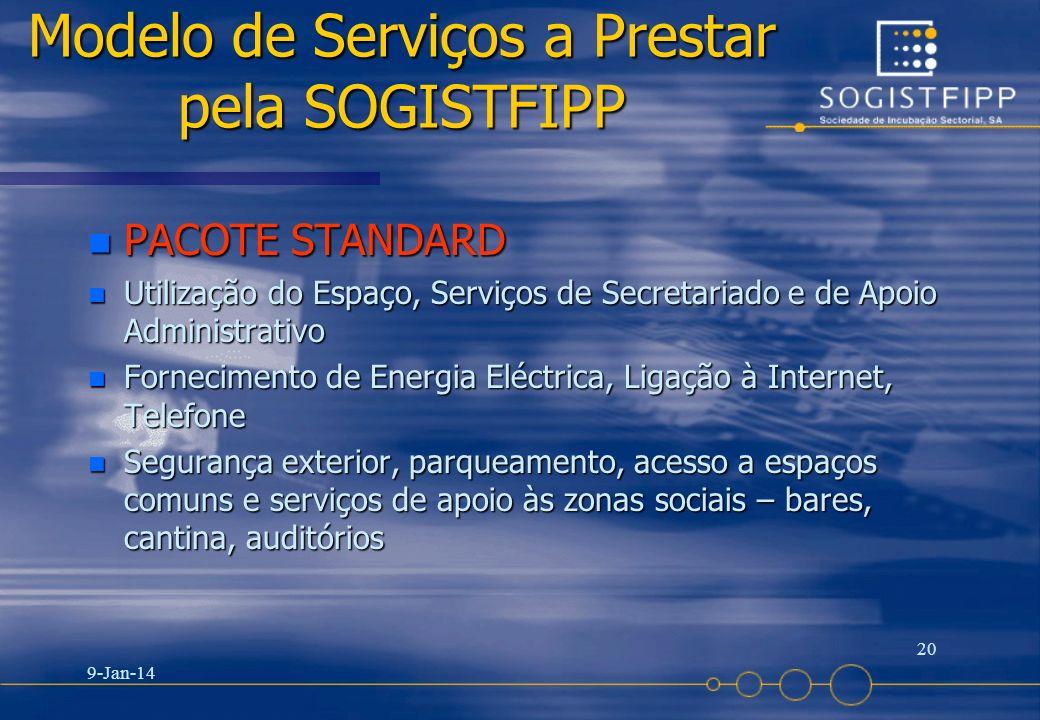 9-Jan-14 20 Modelo de Serviços a Prestar pela SOGISTFIPP n PACOTE STANDARD n Utilização do Espaço, Serviços de Secretariado e de Apoio Administrativo