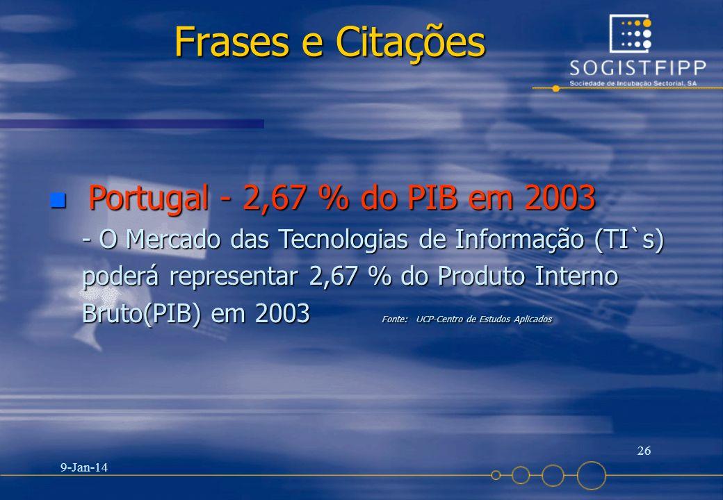 9-Jan-14 26 Frases e Citações n Portugal - 2,67 % do PIB em 2003 - O Mercado das Tecnologias de Informação (TI`s) poderá representar 2,67 % do Produto