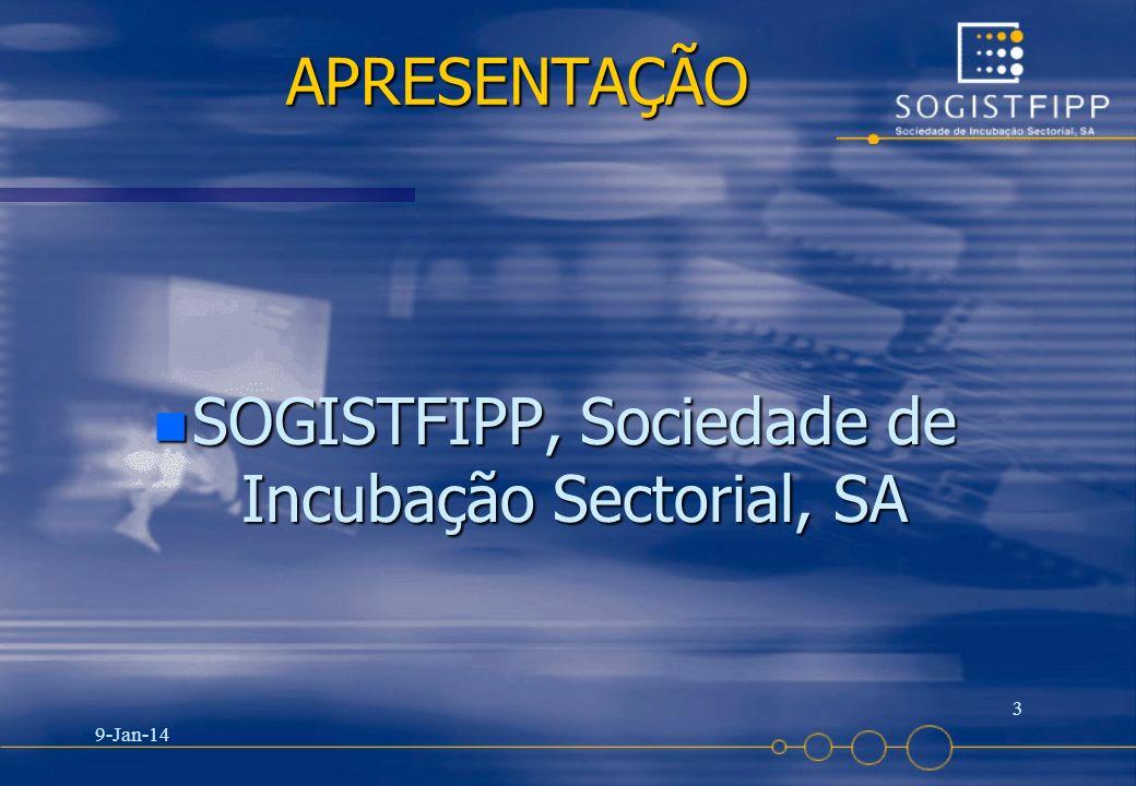 9-Jan-14 3 APRESENTAÇÃO APRESENTAÇÃO n SOGISTFIPP, Sociedade de Incubação Sectorial, SA