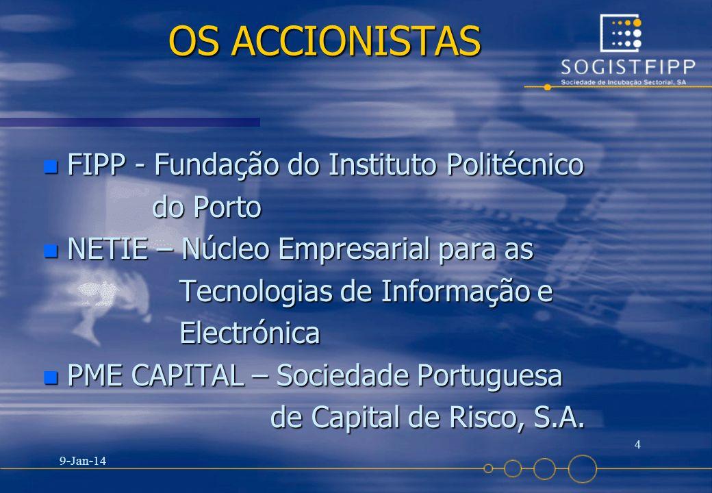 9-Jan-14 4 OS ACCIONISTAS n FIPP - Fundação do Instituto Politécnico do Porto do Porto n NETIE – Núcleo Empresarial para as Tecnologias de Informação