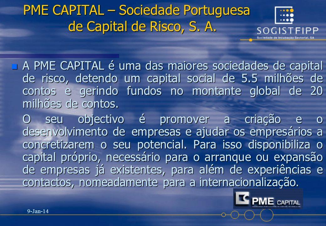 9-Jan-14 6 PME CAPITAL – Sociedade Portuguesa de Capital de Risco, S. A. n A PME CAPITAL é uma das maiores sociedades de capital de risco, detendo um