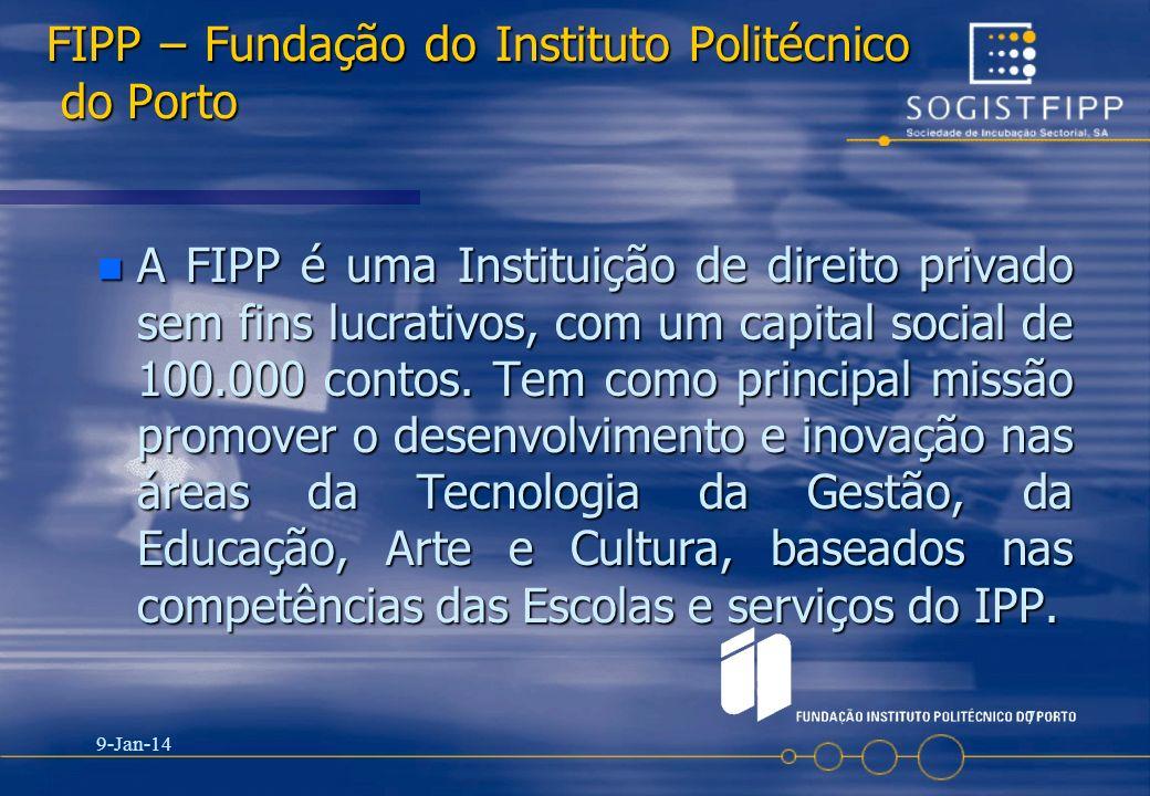 9-Jan-14 7 FIPP – Fundação do Instituto Politécnico do Porto n A FIPP é uma Instituição de direito privado sem fins lucrativos, com um capital social