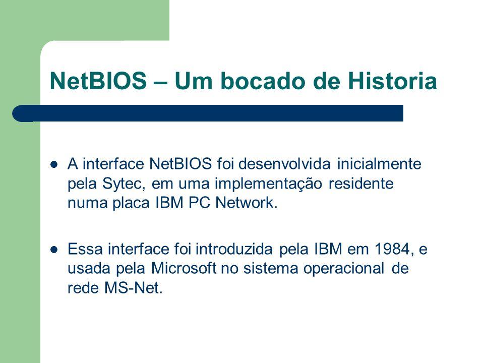 NetBIOS – Um bocado de Historia A interface NetBIOS foi desenvolvida inicialmente pela Sytec, em uma implementação residente numa placa IBM PC Network