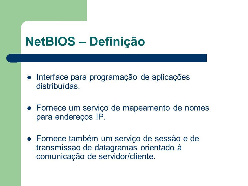 NetBIOS – Definição Interface para programação de aplicações distribuídas. Fornece um serviço de mapeamento de nomes para endereços IP. Fornece também