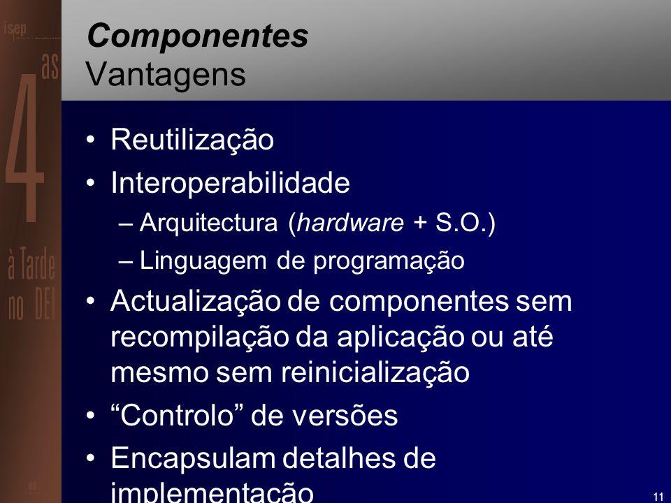 11 Componentes Vantagens Reutilização Interoperabilidade –Arquitectura (hardware + S.O.) –Linguagem de programação Actualização de componentes sem recompilação da aplicação ou até mesmo sem reinicialização Controlo de versões Encapsulam detalhes de implementação