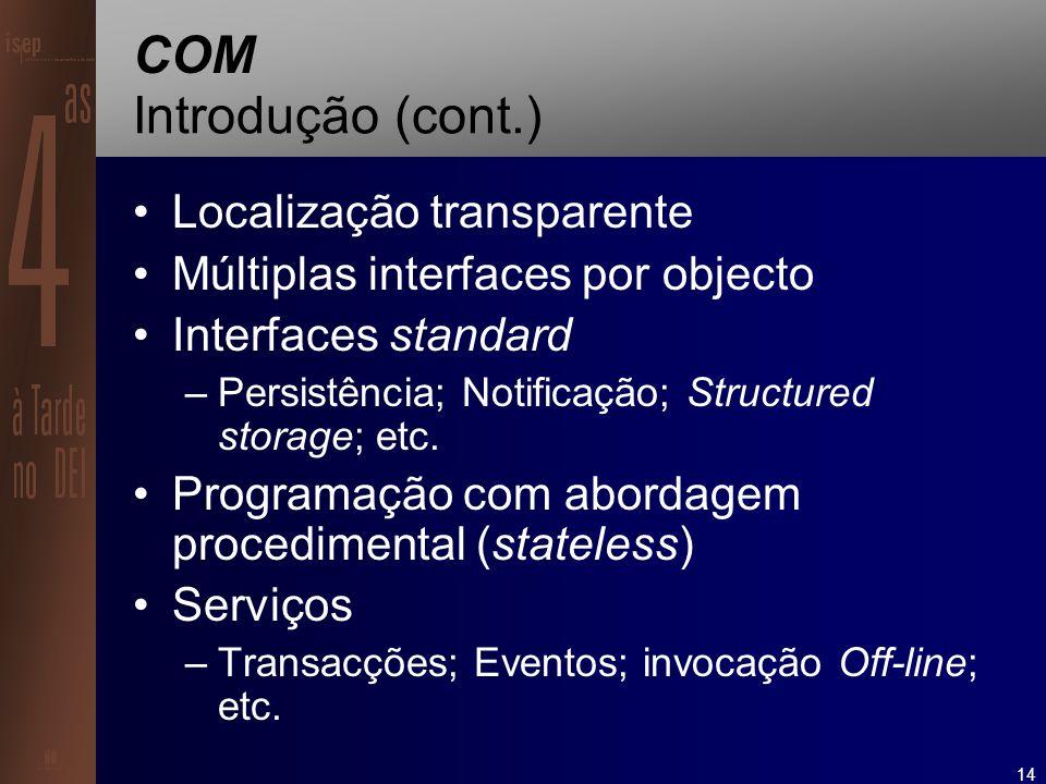 14 COM Introdução (cont.) Localização transparente Múltiplas interfaces por objecto Interfaces standard –Persistência; Notificação; Structured storage; etc.