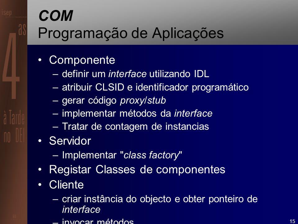 15 COM Programação de Aplicações Componente –definir um interface utilizando IDL –atribuir CLSID e identificador programático –gerar código proxy/stub