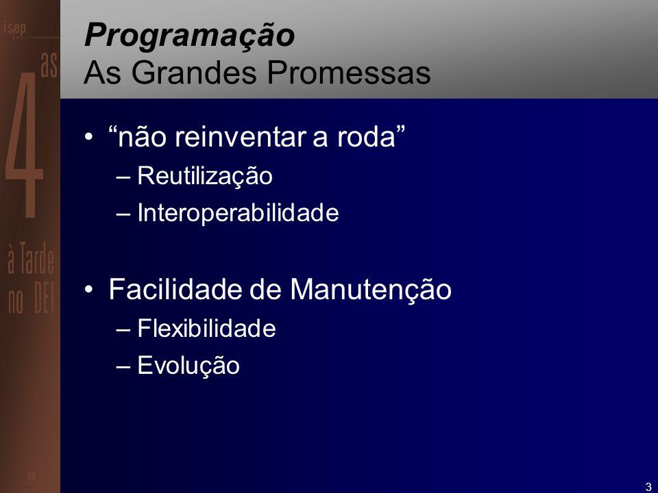 3 Programação As Grandes Promessas não reinventar a roda –Reutilização –Interoperabilidade Facilidade de Manutenção –Flexibilidade –Evolução