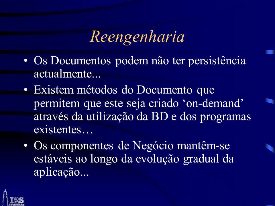 Reengenharia Os Documentos podem não ter persistência actualmente... Existem métodos do Documento que permitem que este seja criado on-demand através