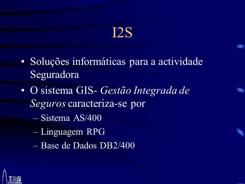 I2S Soluções informáticas para a actividade Seguradora O sistema GIS- Gestão Integrada de Seguros caracteriza-se por –Sistema AS/400 –Linguagem RPG –B