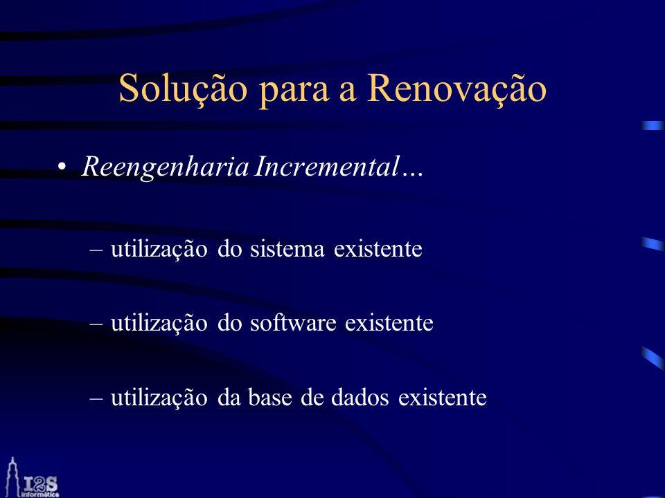 Solução para a Renovação Reengenharia Incremental… –utilização do sistema existente –utilização do software existente –utilização da base de dados exi