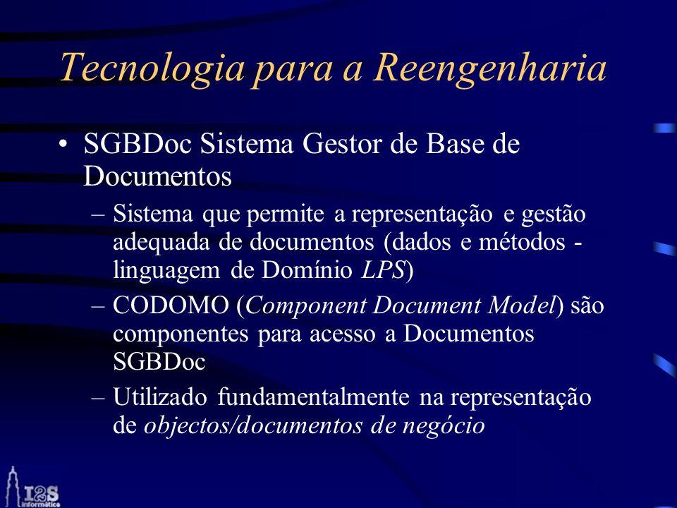 Tecnologia para a Reengenharia SGBDoc Sistema Gestor de Base de Documentos –Sistema que permite a representação e gestão adequada de documentos (dados