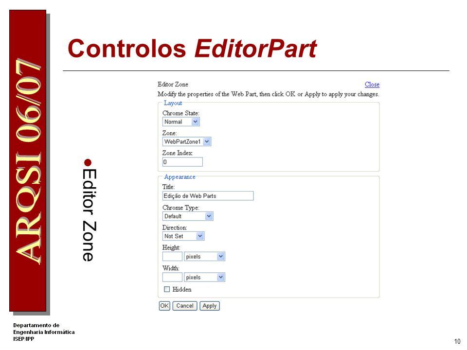 9 Controlos EditorPart Permitem aos utilizadores personalizar vários aspectos dos WebParts Controls da página Web AppearanceEditorPart LayoutEditorPar