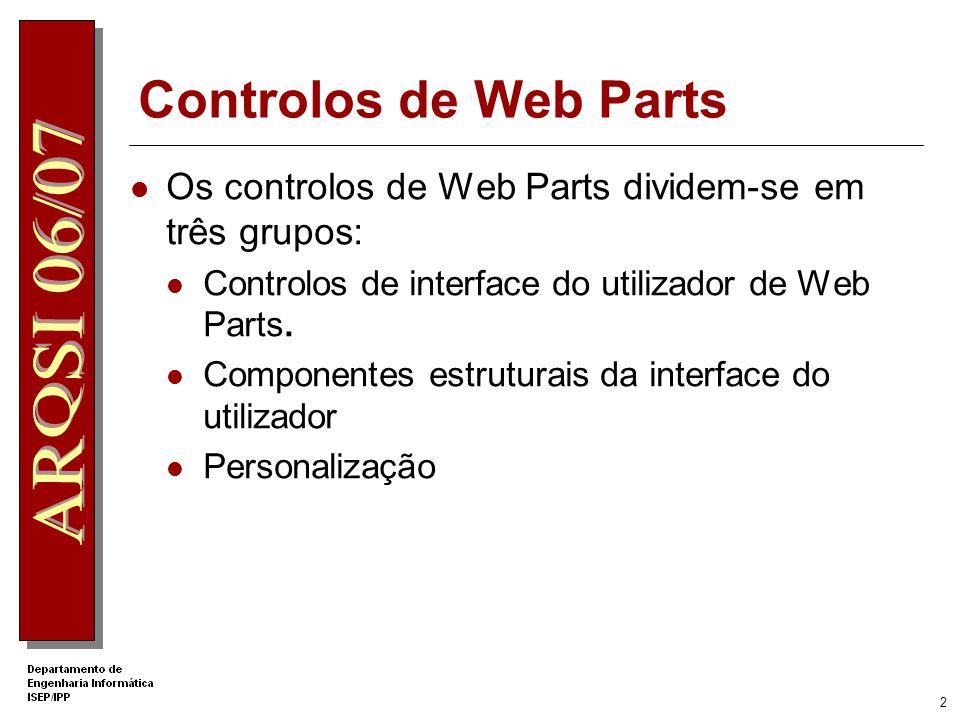 1 O que é Web Part? Web Parts é um conjunto integrado de controlos que permitem aos utilizadores modificar o conteúdo, aparência e comportamento de pá