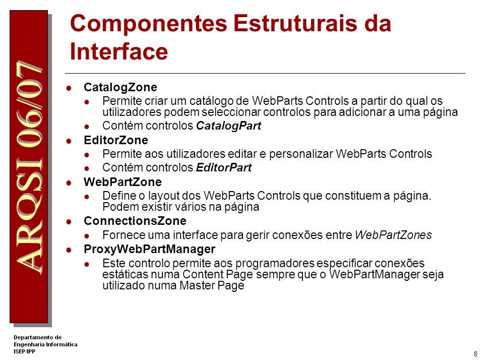 7 Componentes Estruturais da Interface Actuam como gestores de layout Definir página modular de orientação horizontal ou vertical Elementos comuns da