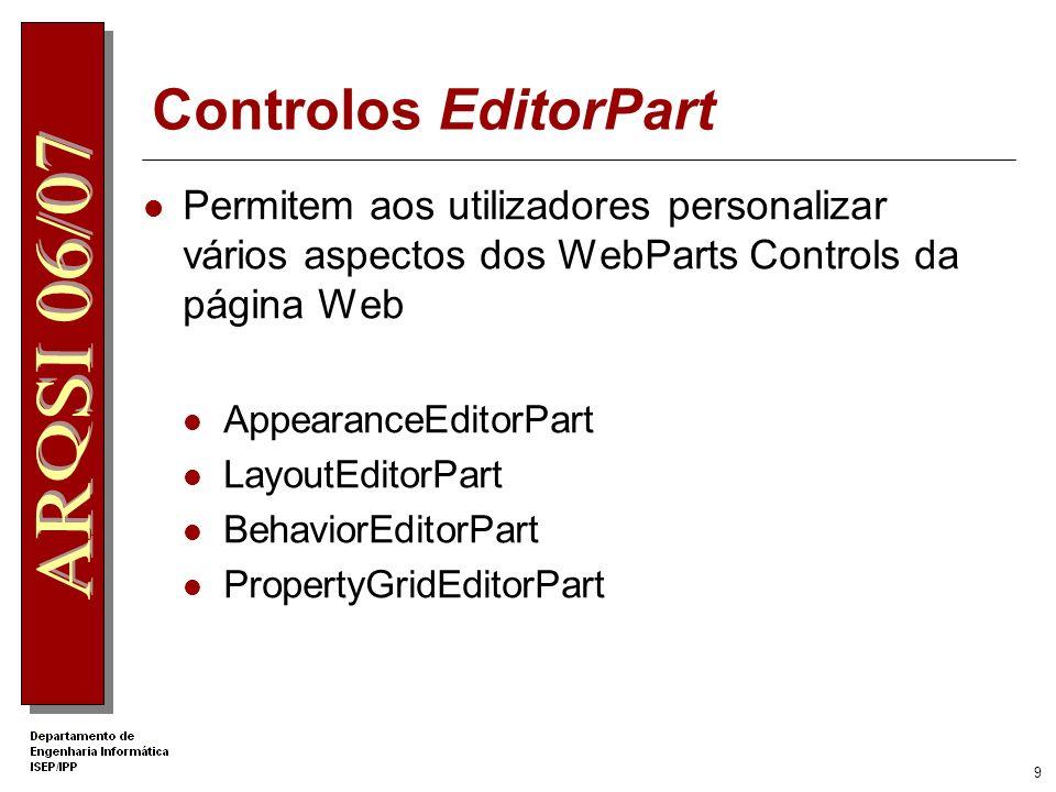 8 Componentes Estruturais da Interface CatalogZone Permite criar um catálogo de WebParts Controls a partir do qual os utilizadores podem seleccionar c