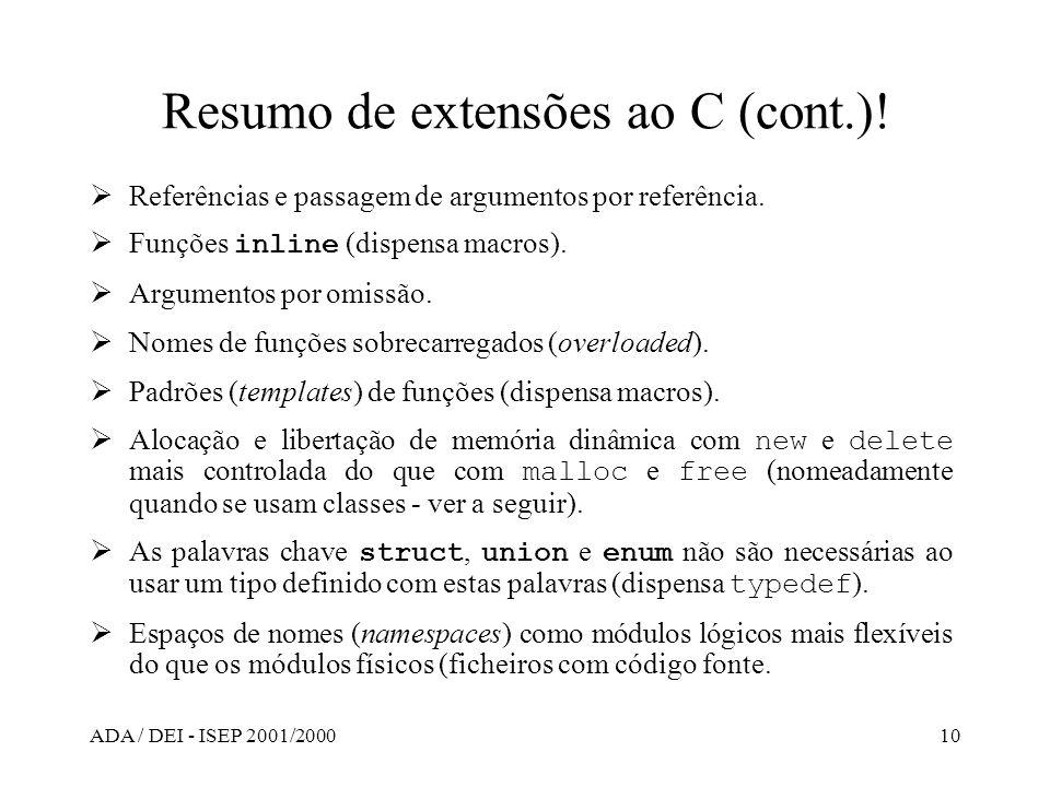 ADA / DEI - ISEP 2001/200010 Resumo de extensões ao C (cont.)! Referências e passagem de argumentos por referência. Funções inline (dispensa macros).